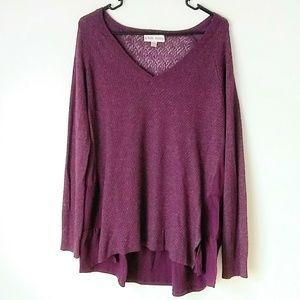 Knox Rose Purple V-neck Sweater